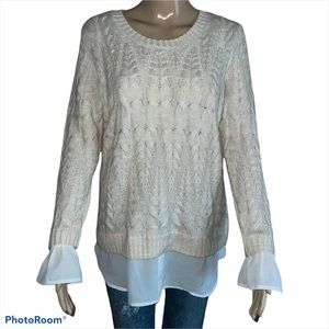 Elle cable knit layered sweater